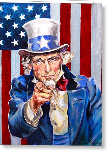 Looking At The Stars Greeting Cards - Uncle Sam Greeting Card by Jan Mecklenburg