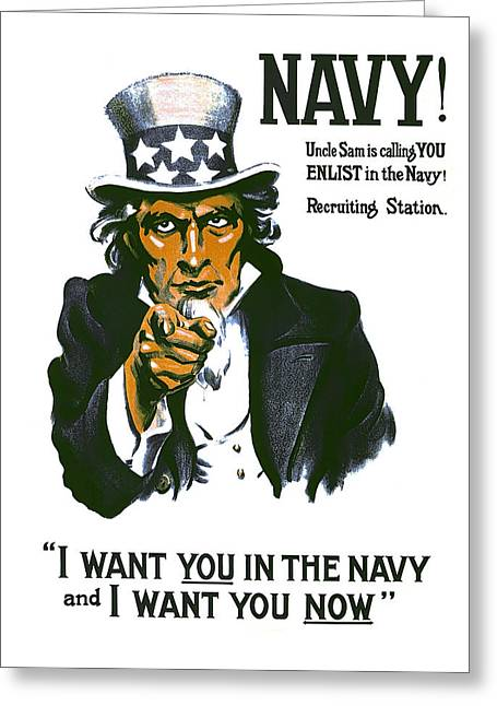 World War One Digital Greeting Cards - Uncle Sam Navy Enlistment Poster  1917 Greeting Card by Daniel Hagerman