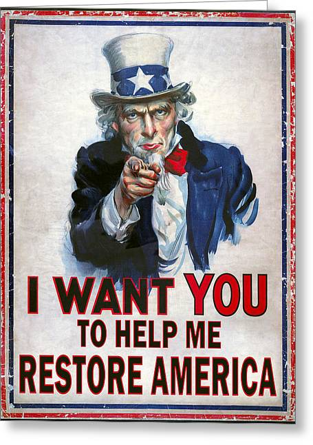 Conservative Greeting Cards - Uncle Sam Needs Help Greeting Card by Daniel Hagerman