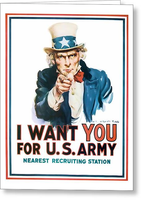 Enlistment Greeting Cards - Uncle Sam Greeting Card by Presented By American Classic Art