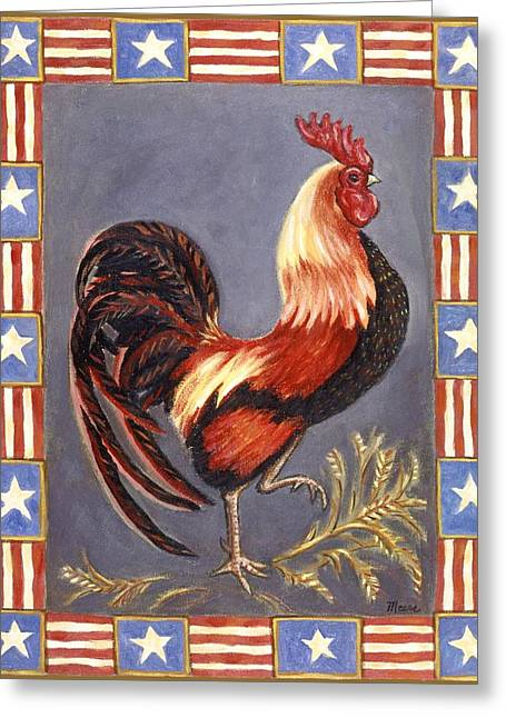 Chicken Greeting Cards - Uncle Sam the Rooster Greeting Card by Linda Mears
