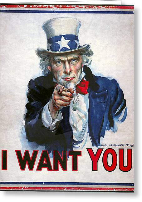 Armed Services Greeting Cards - Uncle Sam Wants You Greeting Card by Daniel Hagerman