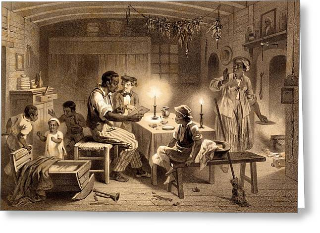 Slavery Greeting Cards - Uncle Toms Cabin, Plate 1 From Uncle Greeting Card by Adolphe Jean-Baptiste Bayot