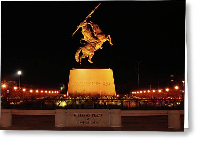 Langford Green Greeting Cards - Unconquered at Williams Plaza on Langford Green Greeting Card by Frank Feliciano