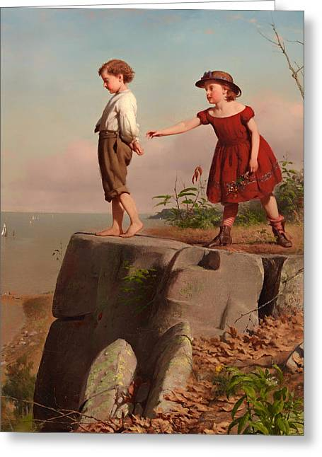 On The Edge Of Greeting Cards - Unconscious of Danger Greeting Card by Seymour Guy