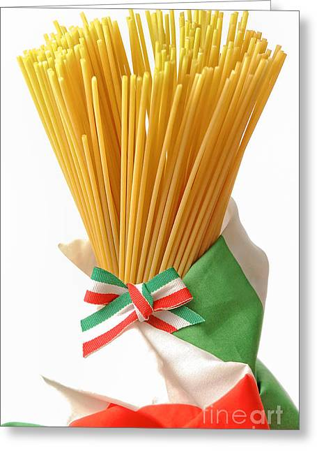 Spaghetti Noodles Greeting Cards - uncooked dried Italian spaghetti  Greeting Card by Marzia Giacobbe