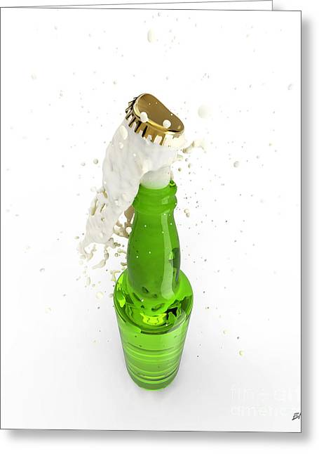 Bottle Cap Digital Art Greeting Cards - Uncorked Bottle Of Beer Greeting Card by Bruno Haver