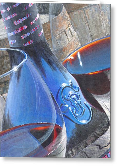 Red Wine Prints Greeting Cards - Uncorked II Greeting Card by Will Enns