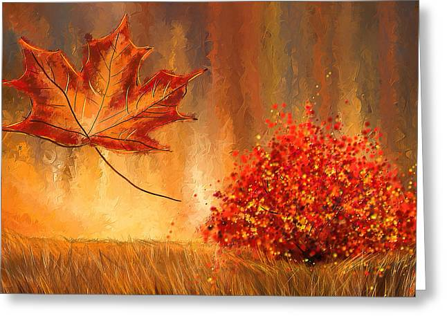 Shades Of Red Greeting Cards - Undeniably autumn- Autumn Impressionist Painting Greeting Card by Lourry Legarde