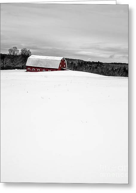 New England Snow Scene Greeting Cards - Under a blanket of snow Christmas on the farm Greeting Card by Edward Fielding