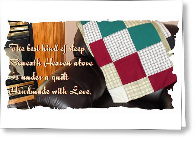 Under A Quilt Handmade With Love Greeting Card by Barbara Griffin