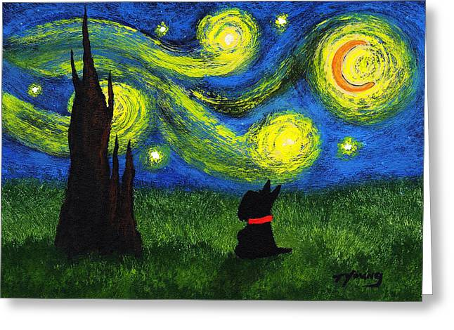 Outsider Art Paintings Greeting Cards - Under a Starry Night Greeting Card by Todd Young