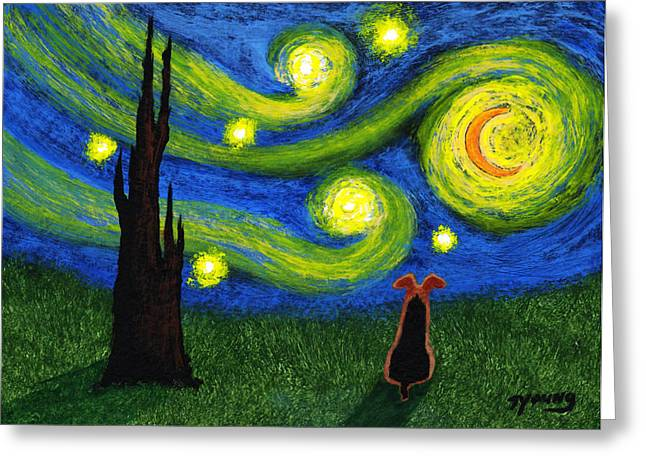 Outsider Art Paintings Greeting Cards - Under a Starry Sky Greeting Card by Todd Young