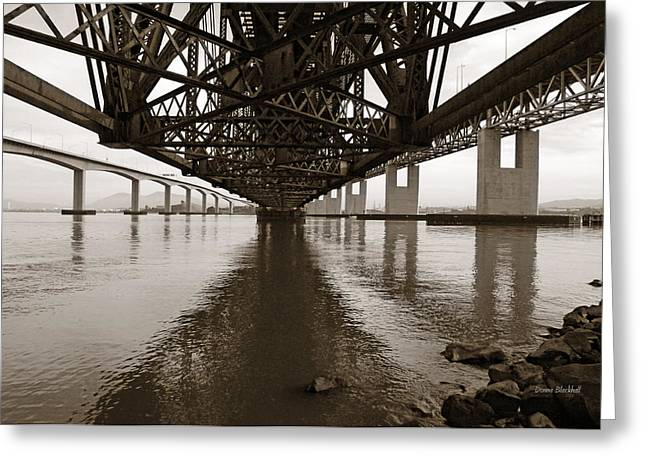 Under Bridges Greeting Card by Donna Blackhall