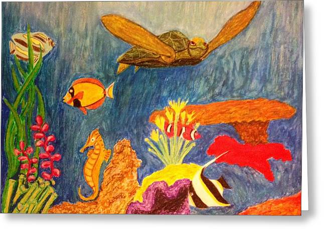 Reef Fish Drawings Greeting Cards - Under Da Sea Greeting Card by Kolene Parliman