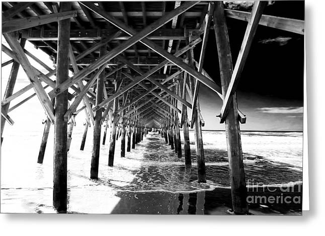 Wood Pier Greeting Cards - Under Folly Pier Greeting Card by John Rizzuto