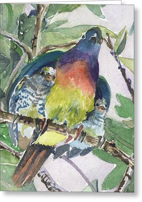 Baby Bird Drawings Greeting Cards - Under Her Wings Greeting Card by Mindy Newman