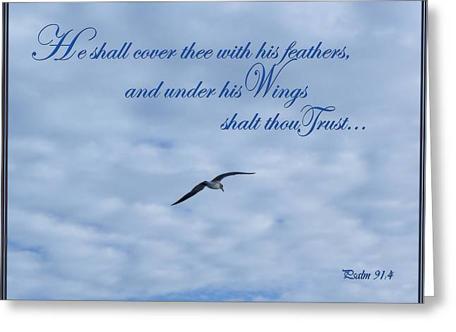 Scripture Cards Greeting Cards - Under His Wings Greeting Card by Larry Bishop