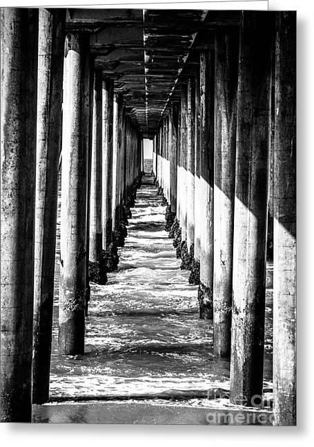 Beam Greeting Cards - Under Huntington Beach Pier Black and White Picture Greeting Card by Paul Velgos