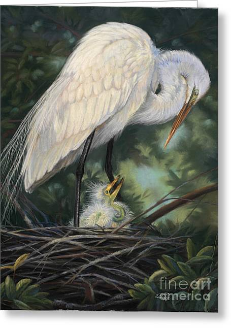 Natural Pastels Greeting Cards - Under Moms Watchful Eye Greeting Card by Deb LaFogg-Docherty