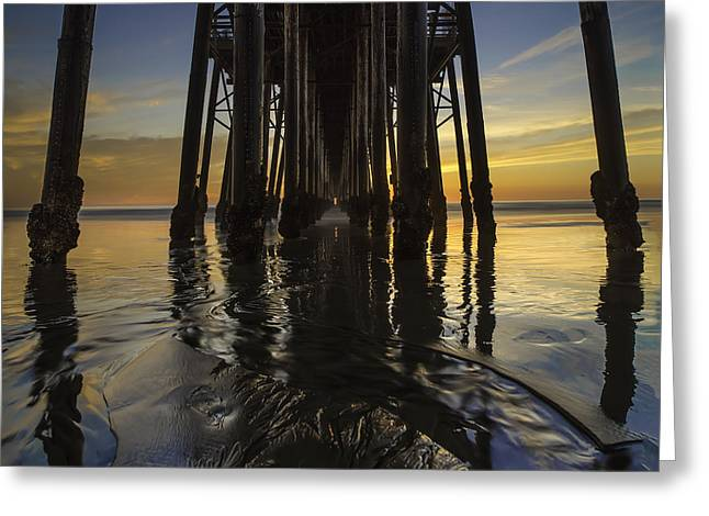 Ocean. Reflection Greeting Cards - Under the Oceanside Pier 2 Greeting Card by Larry Marshall
