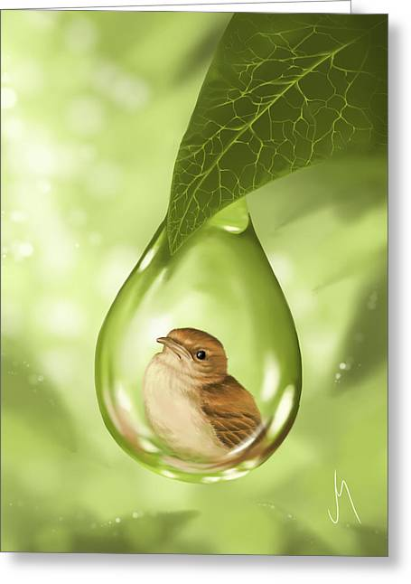 Cute Bird Greeting Cards - Under protection Greeting Card by Veronica Minozzi