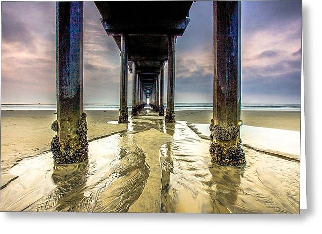 Dangerous Talent Greeting Cards - Under Scripps Pier Greeting Card by Robert  Aycock
