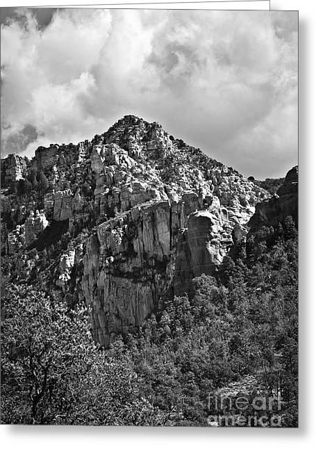 Fineartphotography Greeting Cards - Under Sedona Skies in Black and White Greeting Card by Lee Craig