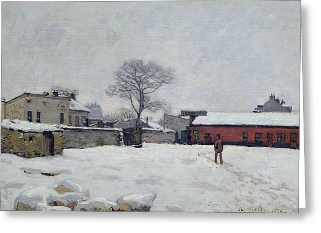 Under Snow The Farmyard At Marly-le-roi, 1876 Greeting Card by Alfred Sisley