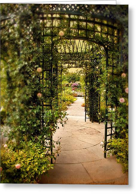 Trellis Digital Greeting Cards - Under The Arbor Greeting Card by Jessica Jenney
