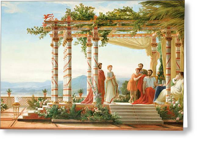 Arbour Greeting Cards - Under the Arbour Greeting Card by Jean Alaux