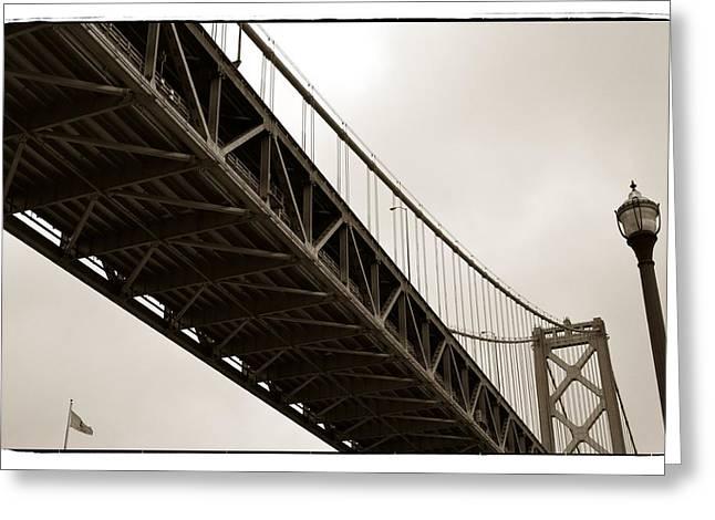 Bay Bridge Digital Greeting Cards - Under the Bay Bridge Greeting Card by Michelle Calkins