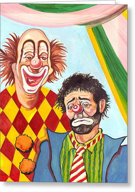 Emmett Kelly Greeting Cards - Under the Big Top Greeting Card by Peter Melonas