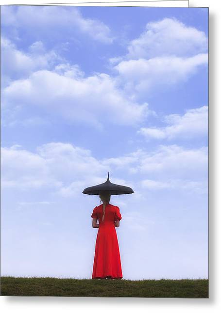 Pensive Greeting Cards - Under The Blue Sky Greeting Card by Joana Kruse