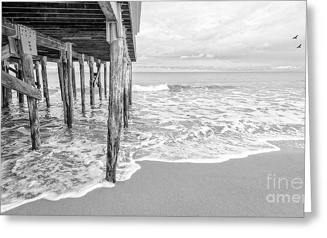 Hamptons Greeting Cards - Under the boardwalk black and white Greeting Card by Edward Fielding