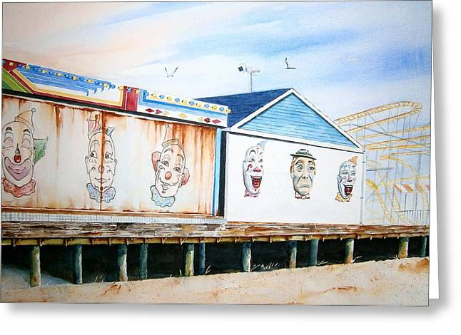 Seaside Heights Paintings Greeting Cards - Under the Boardwalk Greeting Card by Brian Degnon