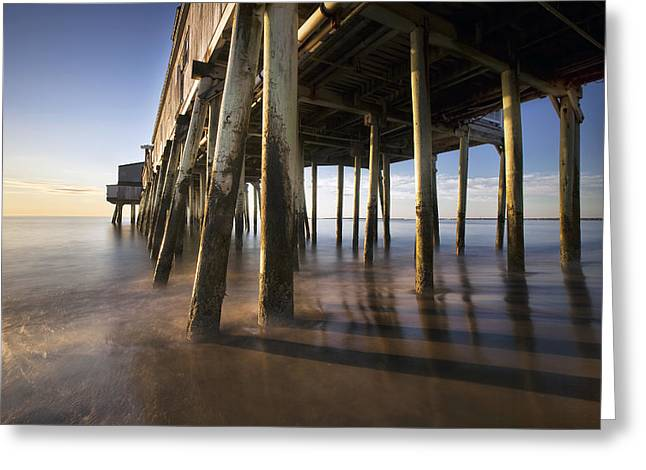 Maine Beach Greeting Cards - Under the Boardwalk Greeting Card by Eric Gendron