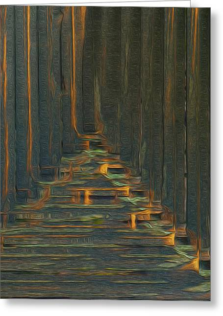 Abstracted Colorful Reality Greeting Cards - Under The Boardwalk Greeting Card by Jack Zulli