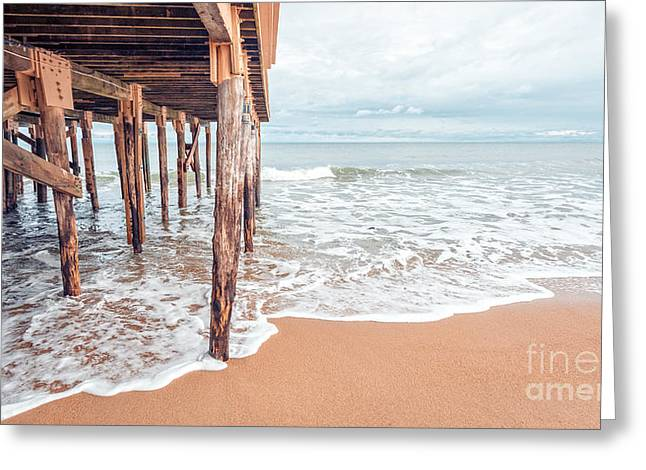 New England Coast Greeting Cards - Under the Boardwalk Salsibury Beach Greeting Card by Edward Fielding