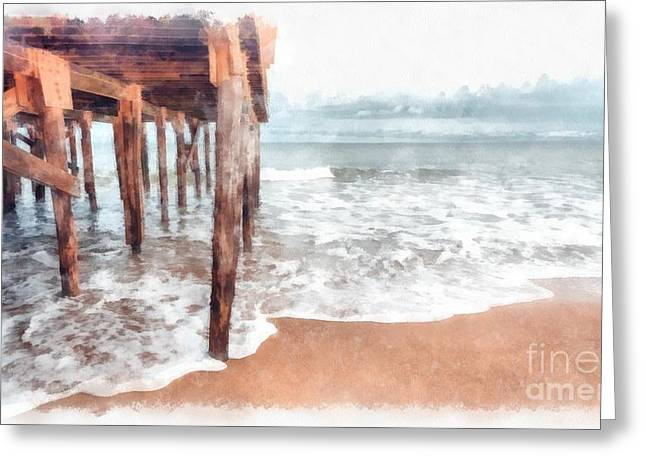 Under The Boardwalk Watercolor Greeting Card by Edward Fielding