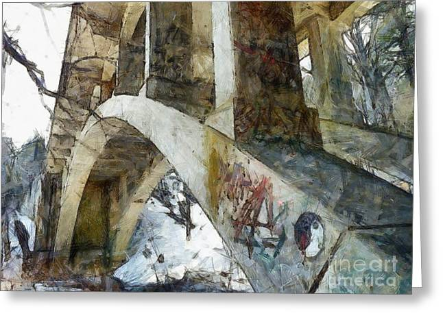 Under The Bridge  Greeting Card by Janine Riley