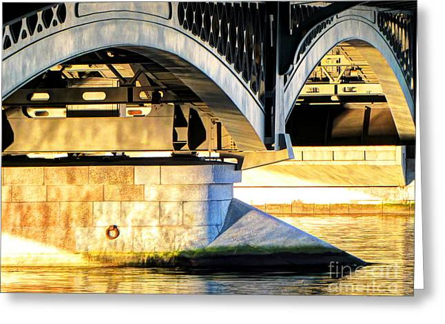 City Of Bridges Pyrography Greeting Cards - Under the bridges of St. Petersburg Greeting Card by Yury Bashkin