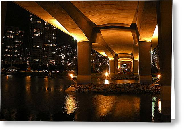 Cambie Bridge Greeting Cards - Under the Cambie Street Bridge Greeting Card by Brian Chase