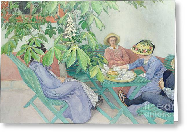 Coffee Drinking Greeting Cards - Under the Chestnut Tree Greeting Card by Carl Larsson