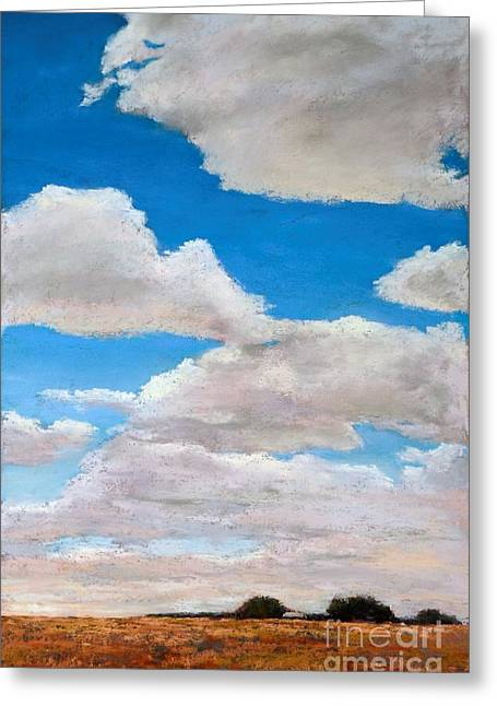 Field. Cloud Pastels Greeting Cards - Under the Clouds Greeting Card by Xenia Sease