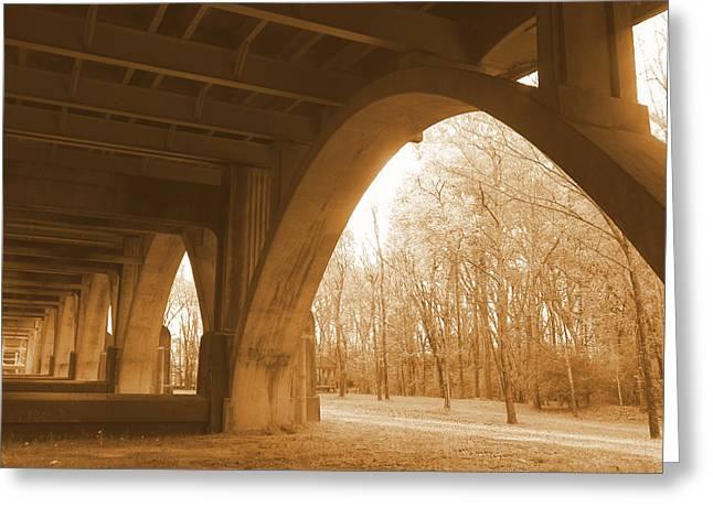Historic Bridge Photographs Digital Greeting Cards - Under the Edmund Pettus Bridge Greeting Card by Sheri McLeroy
