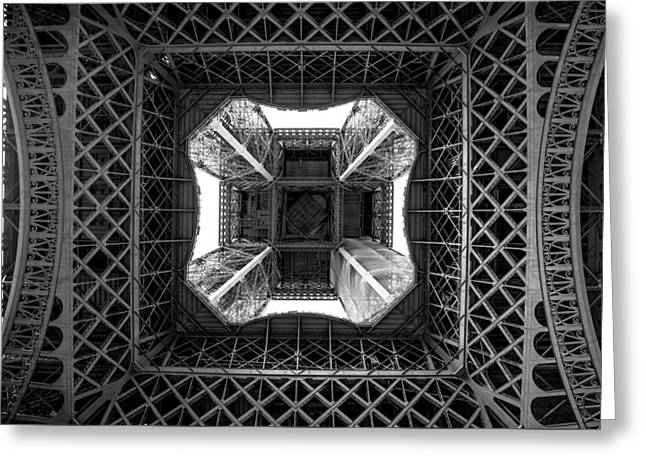 Under The Eiffel Greeting Card by Aaron Aldrich