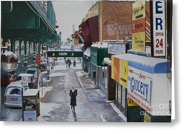 American Story Art Greeting Cards - Under the El 86th Street Brooklyn Greeting Card by Anthony Butera