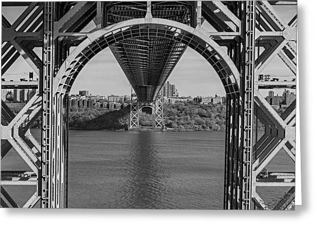 S-hooks Greeting Cards - Under The George Washington Bridge BW Greeting Card by Susan Candelario