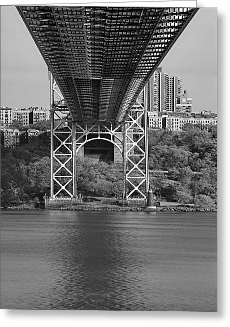 S-hooks Greeting Cards - Under The George Washington Bridge II BW Greeting Card by Susan Candelario